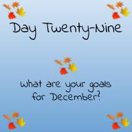 What are your goals for December?